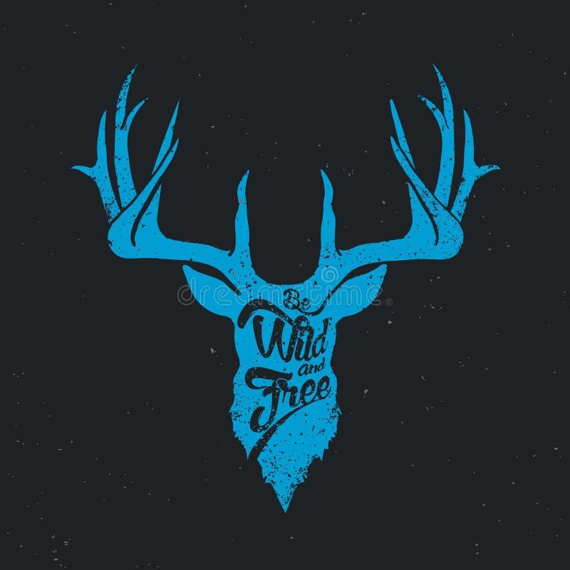 Los ciervos sean azul invertido salvaje y libre libre illustration
