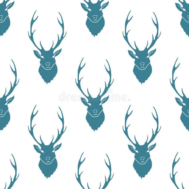Los ciervos siluetean el modelo inconsútil Vector libre illustration