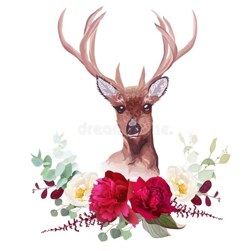 Los ciervos y el vector horizontal del ramo floral del otoño elegante diseñan objetos ilustración del vector