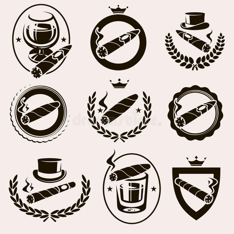 Los cigarros etiquetan y los iconos fijados Vector ilustración del vector