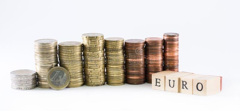Los cilindros de monedas euro y el euro de la palabra formaron por los pequeños cubos de madera imagen de archivo libre de regalías
