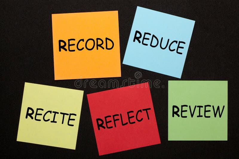 Los cinco Rs de la nota Estudio para el éxito fotos de archivo libres de regalías