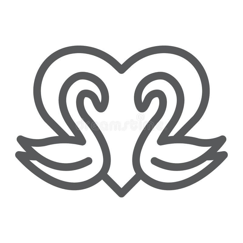 Los cisnes alinean el icono, romance y amor, los cisnes y muestra del corazón, gráficos de vector, un modelo linear en un fondo b stock de ilustración