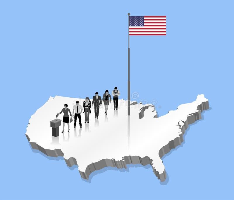 Los ciudadanos americanos que votan por la elección de los E.E.U.U. sobre un 3D los E.E.U.U. trazan con stock de ilustración