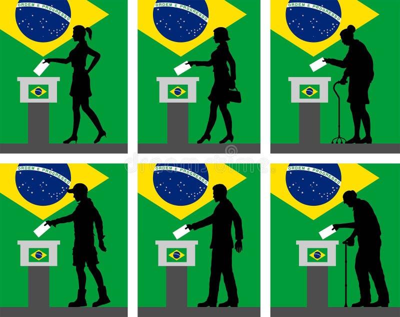 Los ciudadanos brasileños siluetean la votación por la elección en el Brasil ilustración del vector