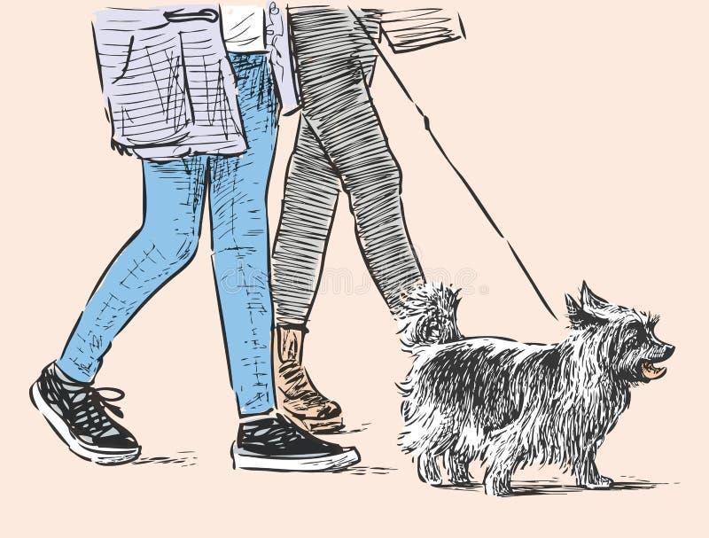 Los ciudadanos con un animal doméstico van para un paseo ilustración del vector