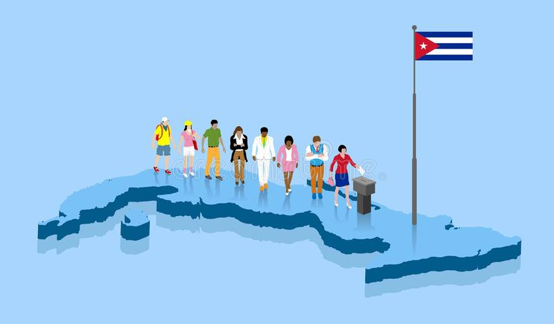 Los ciudadanos cubanos están votando por la elección sobre un mapa de Cuba stock de ilustración