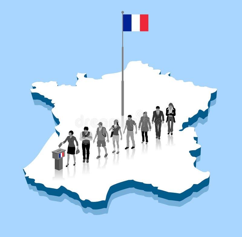 Los ciudadanos franceses están votando por la elección sobre un mapa de Francia 3D con la asta de bandera stock de ilustración