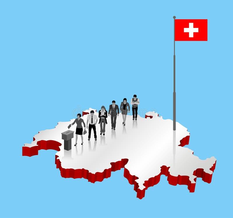 Los ciudadanos suizos que votan por el referéndum de Suiza sobre un 3D trazan stock de ilustración