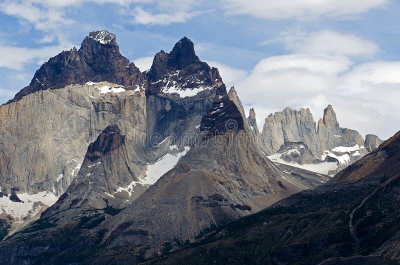 Los claxones de Paine en el parque nacional de Torres Del Paine, Patagonia, imagenes de archivo