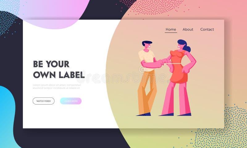Los clientes equipan la página del aterrizaje de la página web de la orden, la modista o al sastre Measuring Woman Breast con la  ilustración del vector