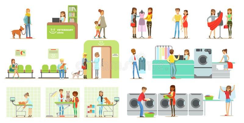 Los clientes que visitan la clínica y el lavadero veterinarios hacen compras, gente que trae sus animales domésticos para el trat ilustración del vector