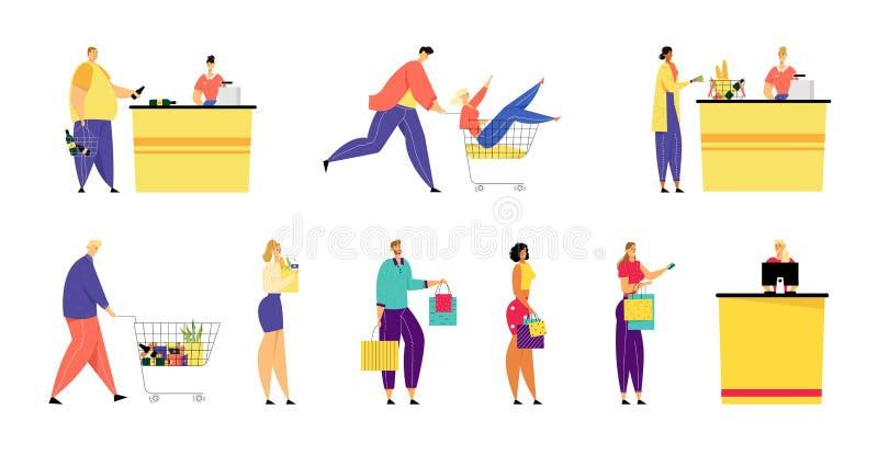 Los clientes se colocan en cola en supermercado y ultramarinos con las mercancías en bolsas de papel y carretilla que hacen compr stock de ilustración