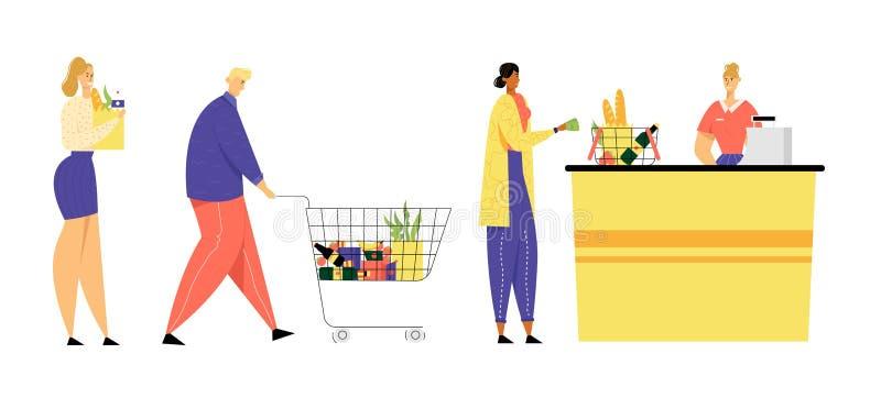 Los clientes se colocan en línea en el ultramarinos o la vuelta del supermercado con las mercancías en carretilla de las compras  ilustración del vector