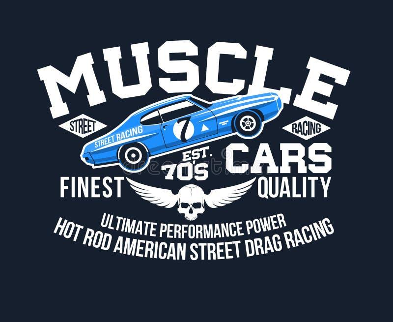 Los coches americanos clásicos del desgaste de la tipografía y del músculo de la impresión de la camiseta refrescan el ejemplo de stock de ilustración
