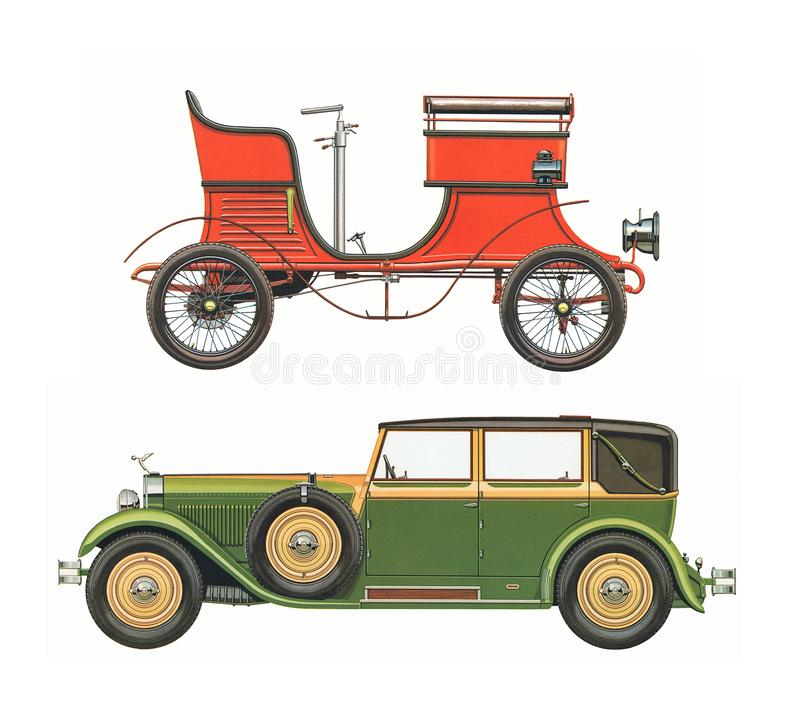 Los coches clásicos antiguos/fijaron de dos coches clásicos antiguos fotos de archivo libres de regalías