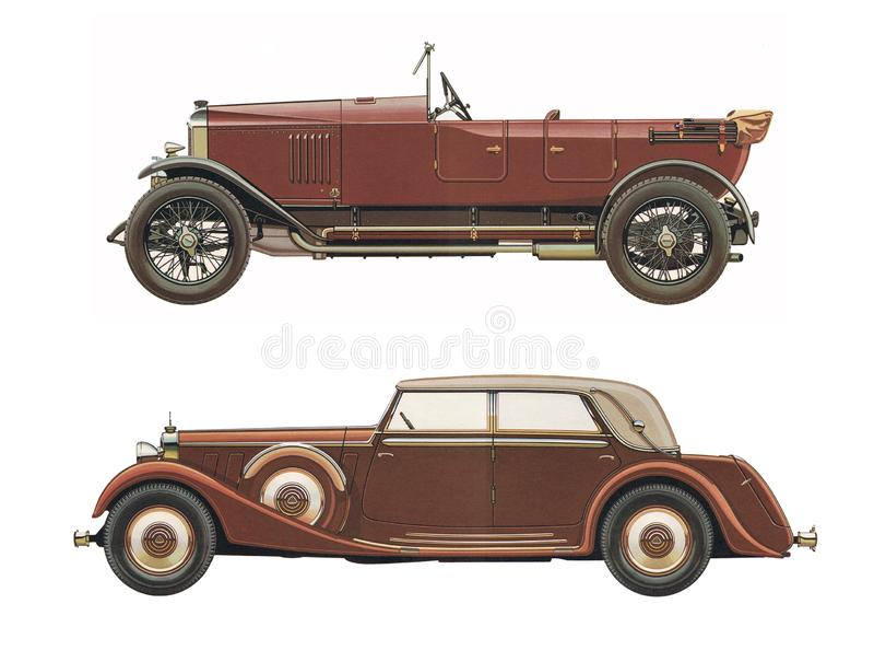 Los coches clásicos antiguos/fijaron de dos coches clásicos antiguos foto de archivo libre de regalías