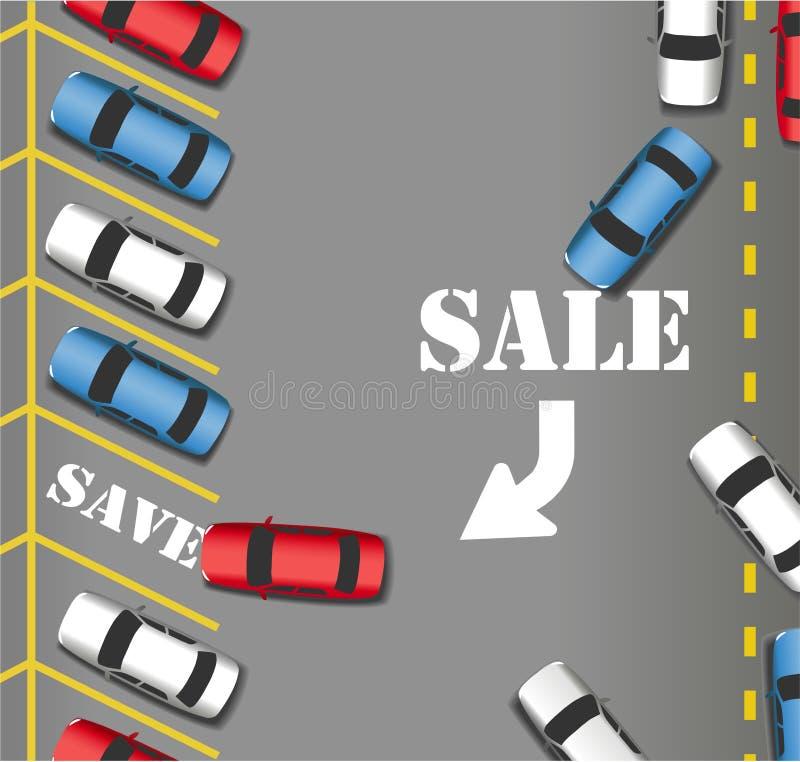 Los coches de los clientes de la tienda del estacionamiento de la venta ahorran ilustración del vector