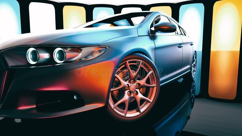 Los coches modernos están en la sala de exposición libre illustration