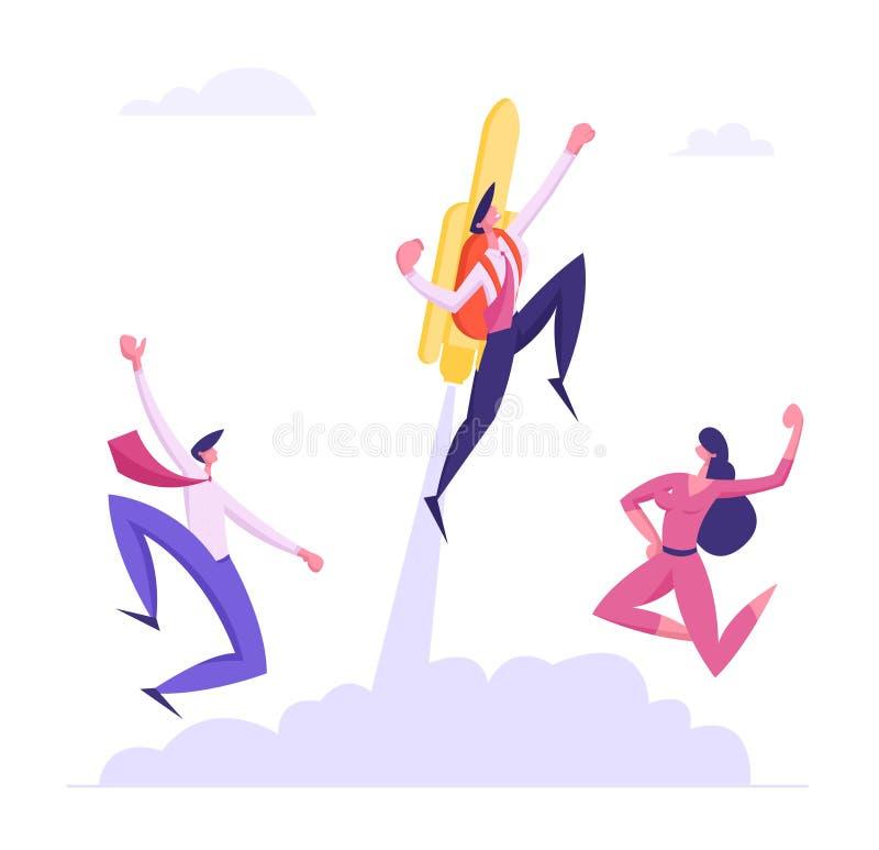 Los colegas alegres ven del hombre de negocios fresco Flying Off con Jet Pack Gran comienzo, alza de la carrera o crecimiento ráp libre illustration