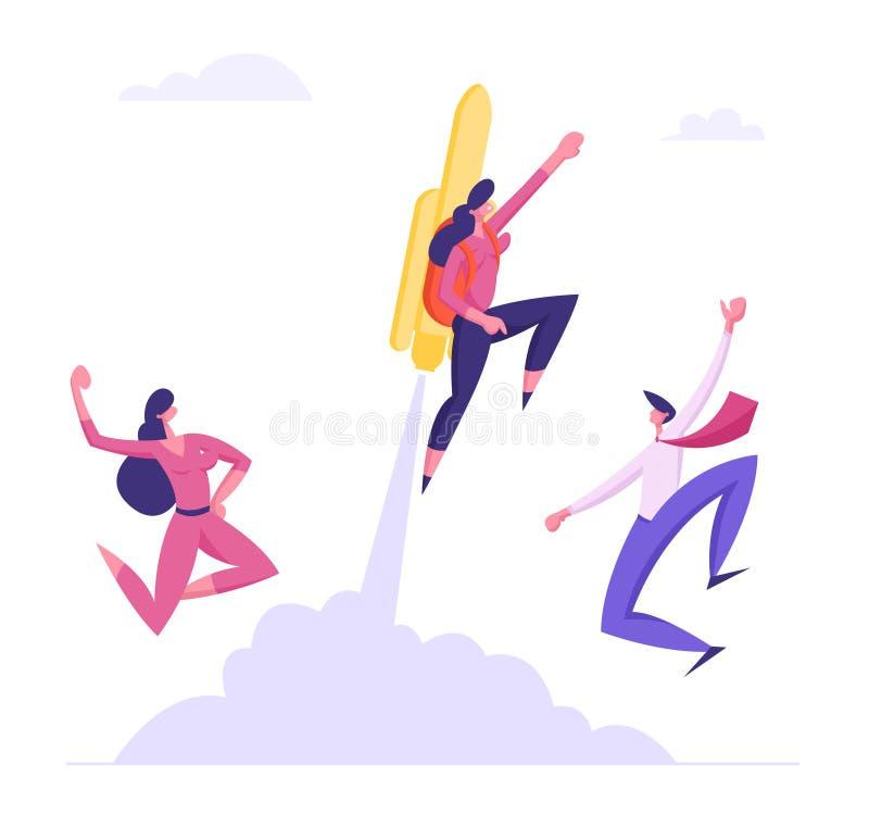 Los colegas felices ven de la empresaria fresca Flying Off con Jet Pack Gran comienzo, alza de la carrera o crecimiento rápido de ilustración del vector
