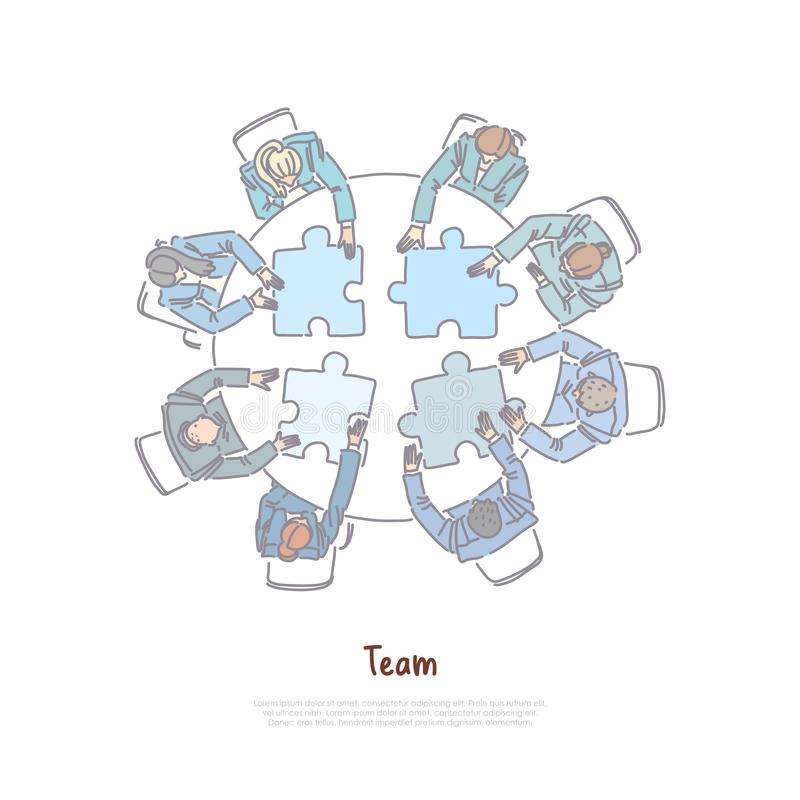 Los colegas que montan el rompecabezas, cooperación del negocio, gente trabajan juntos, generación de la idea, bandera del interc stock de ilustración