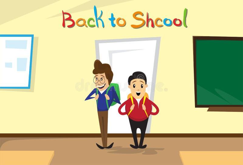 Los colegiales entran en el sitio de clase de nuevo a bandera de la educación escolar ilustración del vector