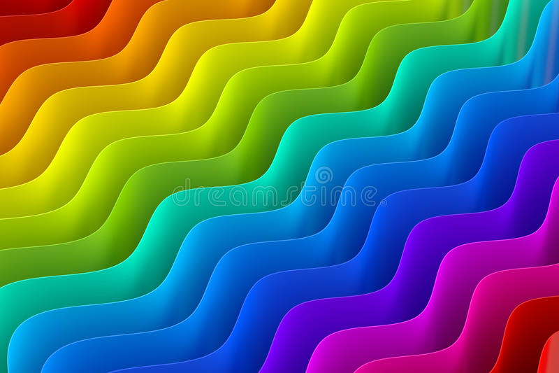 Los colores abstractos del arco iris agitan el fondo, representación 3D libre illustration
