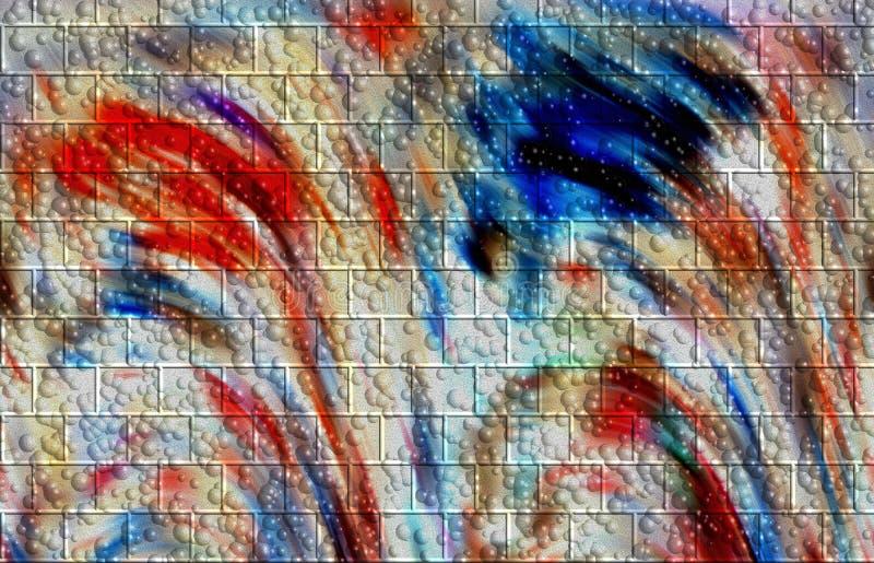 Los colores abstractos, pared forman, las burbujas, fondo stock de ilustración