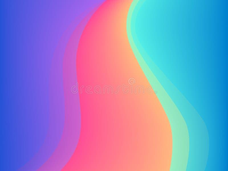 Los colores azules y rosados vector el fondo ondulado abstracto de la presentación o del cartel ilustración del vector