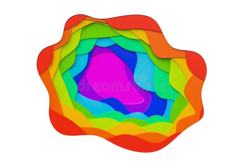 Los colores coloridos abstractos, corte agitan el fondo representación 3d ilustración del vector