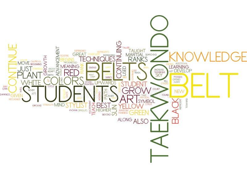 Los colores de la correa del concepto de la nube de Tae Kwon Do Text Background Word stock de ilustración