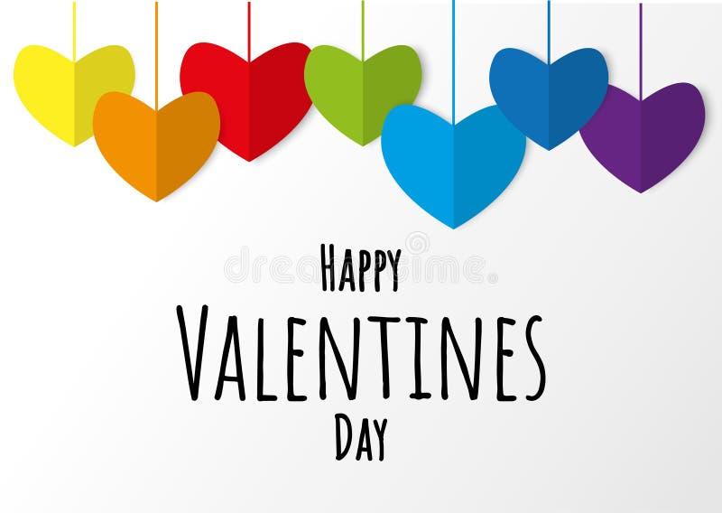 Los colores de papel plegables del arco iris del corazón de LGBT con día de tarjetas del día de San Valentín feliz mandan un SMS fotos de archivo libres de regalías