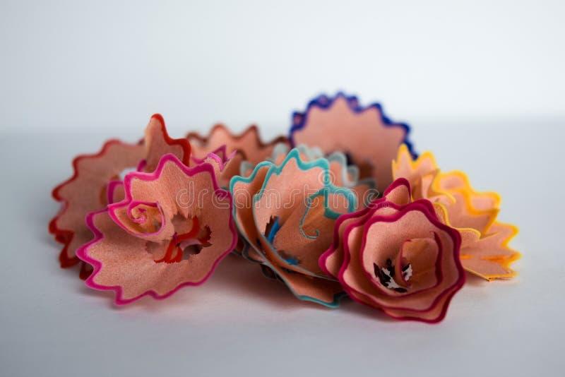 Los colores hermosos de las virutas del lápiz foto de archivo libre de regalías