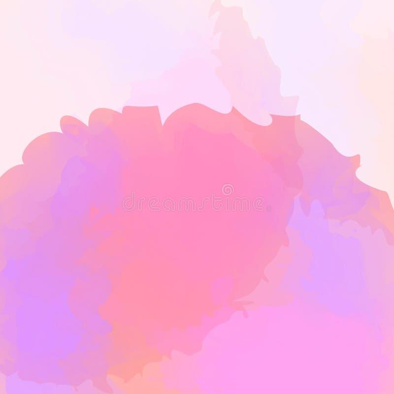 Los colores púrpuras y rosados manchan en estilo del color de agua en fondo rosado suave, textura del rosa de la acuarela para la ilustración del vector