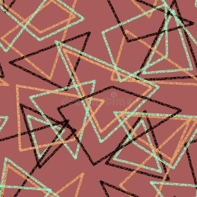 Los colores retros de los triángulos inconsútiles modelan los ABS geométricos del fondo stock de ilustración