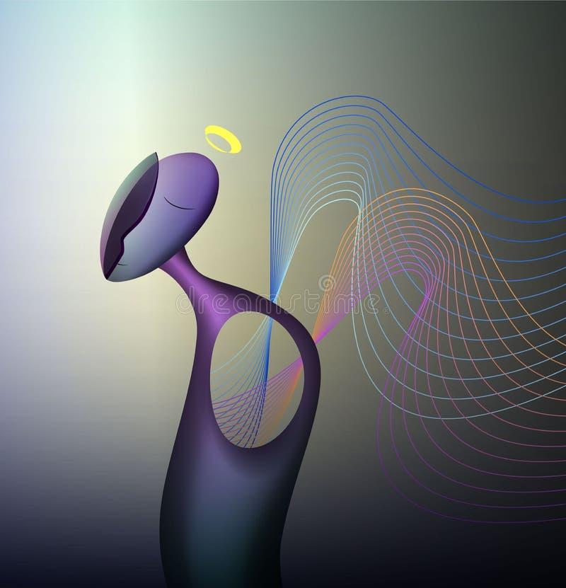 Los colores y la forma del concepto de las emociones, humanos siente la felicidad, forma abstracta del ?ngel con, surrealismo stock de ilustración