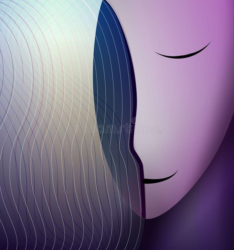Los colores y la forma del concepto de las emociones, humanos siente la felicidad, cabeza abstracta de la mujer que sonríe, stock de ilustración