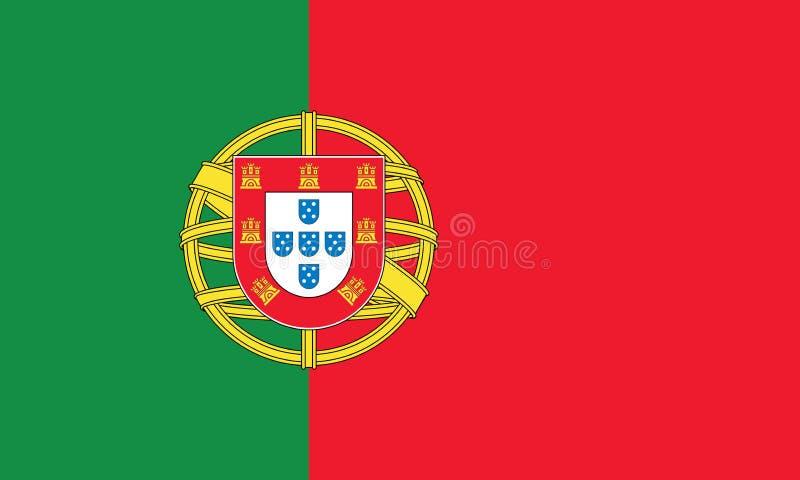 Los colores y la proporción oficiales de la bandera de Portugal vector correctamente el ejemplo stock de ilustración