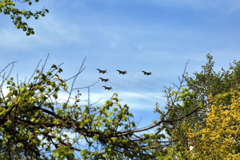Los combatientes de los aviones de combate vuelan contra el cielo azul Escuadrilla del jet fotografía de archivo libre de regalías