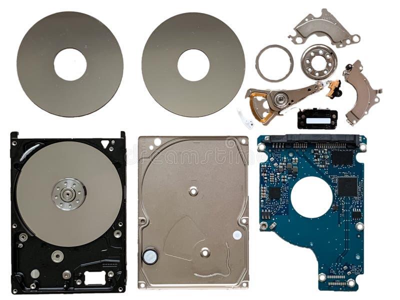 Los componentes de la unidad de disco duro aislaron fotografía de archivo libre de regalías