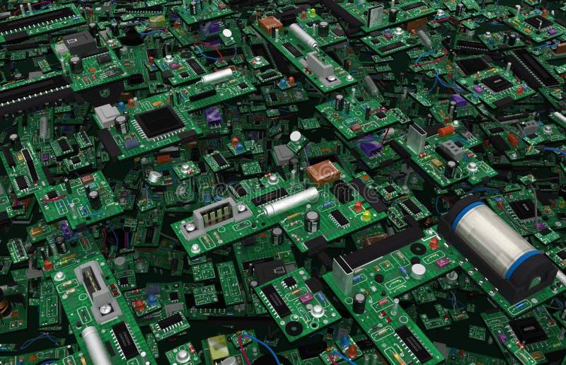 Los componentes electrónicos resumen stock de ilustración