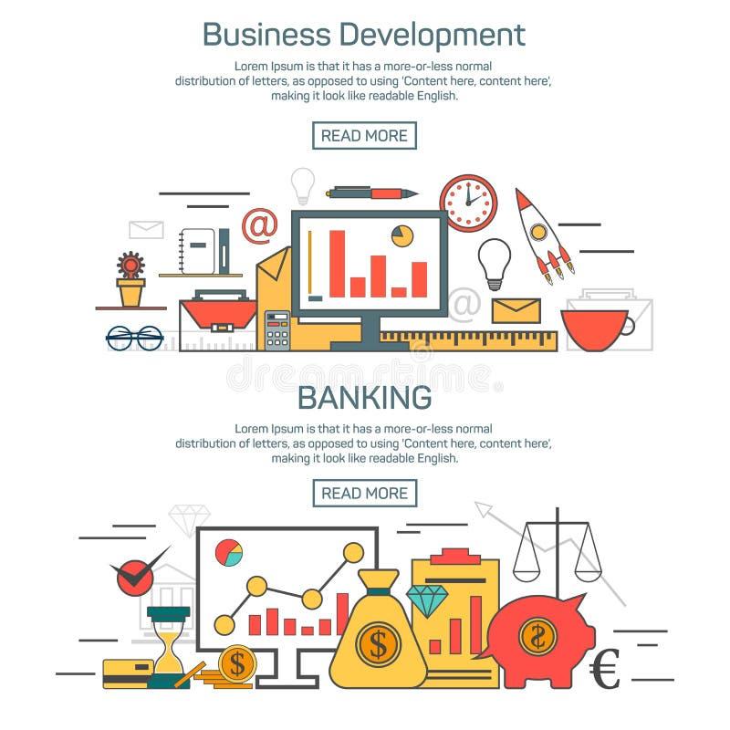 Los conceptos de la bandera del desarrollo de negocios y de las actividades bancarias en estilo linear diseñan Línea fina ejemplo ilustración del vector