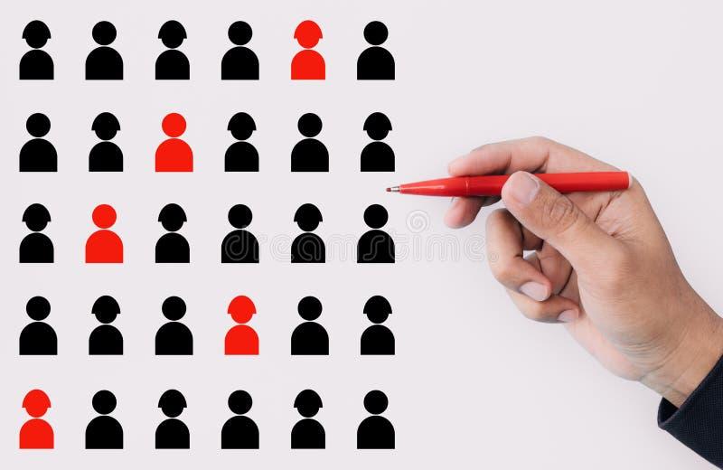 Los conceptos del funcionamiento y de la gesti?n de recursos humanos con el encargado o el CEO seleccionaron la muestra del perso foto de archivo