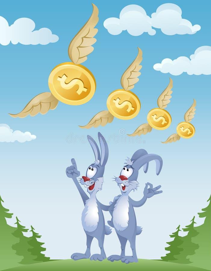 Los conejos observan el vuelo de dólares en el cielo libre illustration