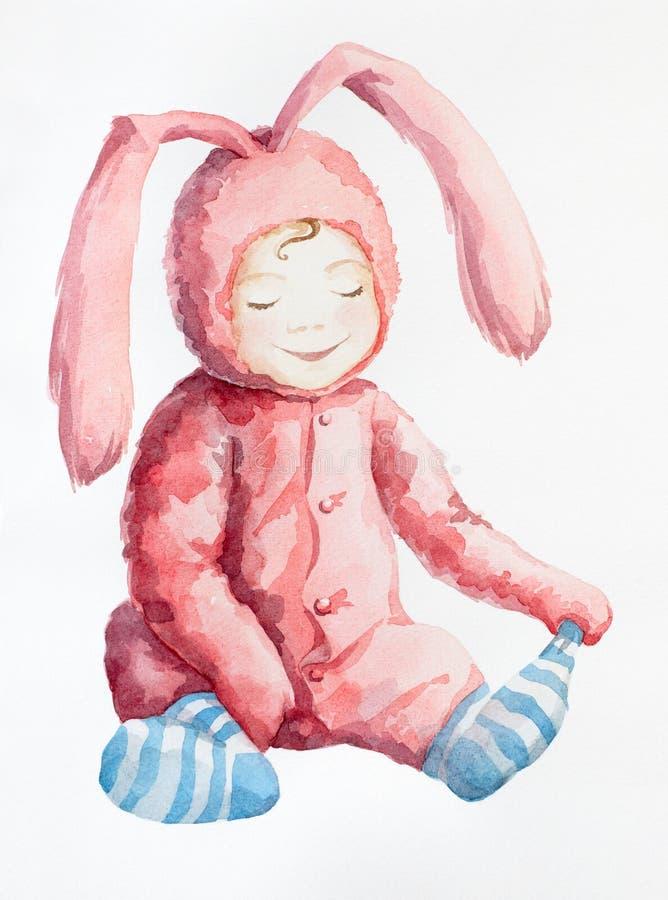 Los conejos rosados no desgastan calcetines azules. ilustración del vector