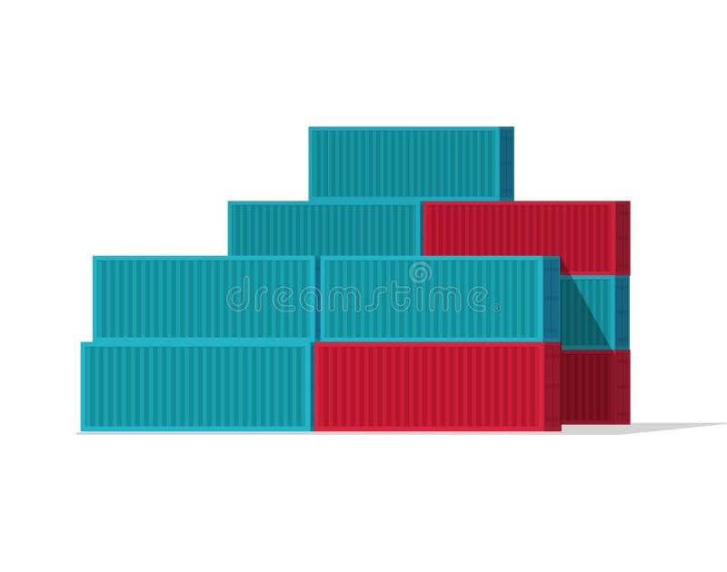 Los contenedores apilan el ejemplo del vector, la historieta plana azul y los contenedores para mercancías grandes rojos aislados ilustración del vector