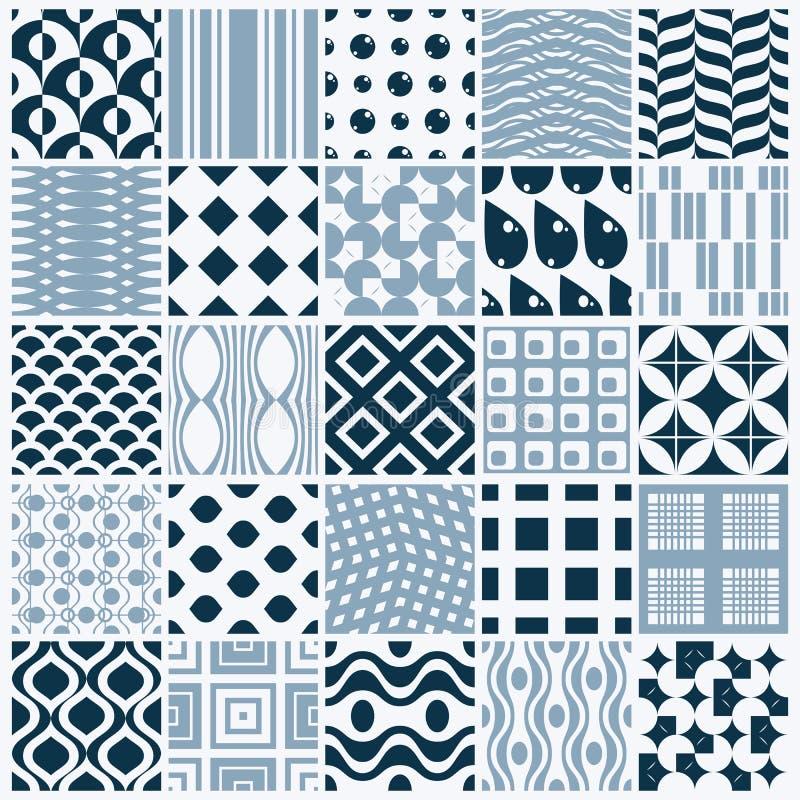Los contextos inconsútiles blancos y negros ornamentales del vector fijaron, geomet libre illustration
