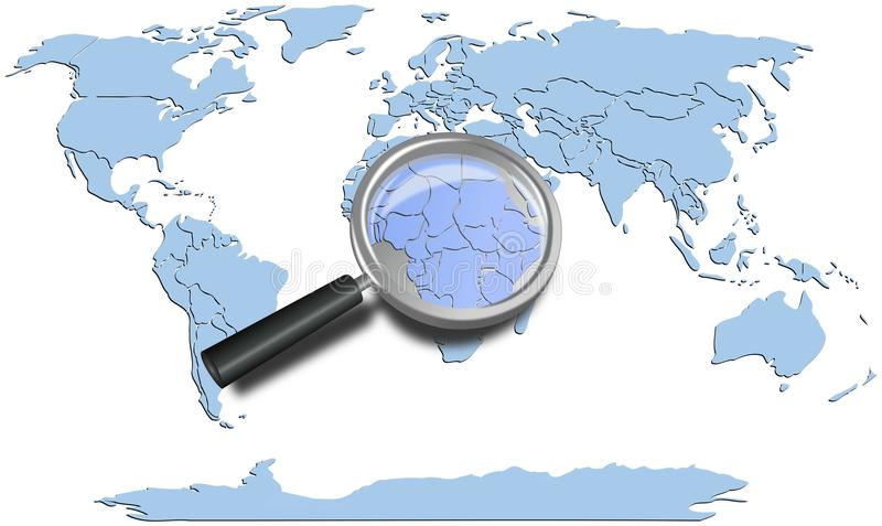 Los continentes azules del mapa del mundo con África magnificaron libre illustration