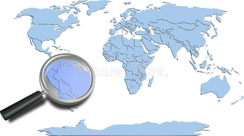 Los continentes azules del mapa del mundo con Suramérica magnificaron ilustración del vector